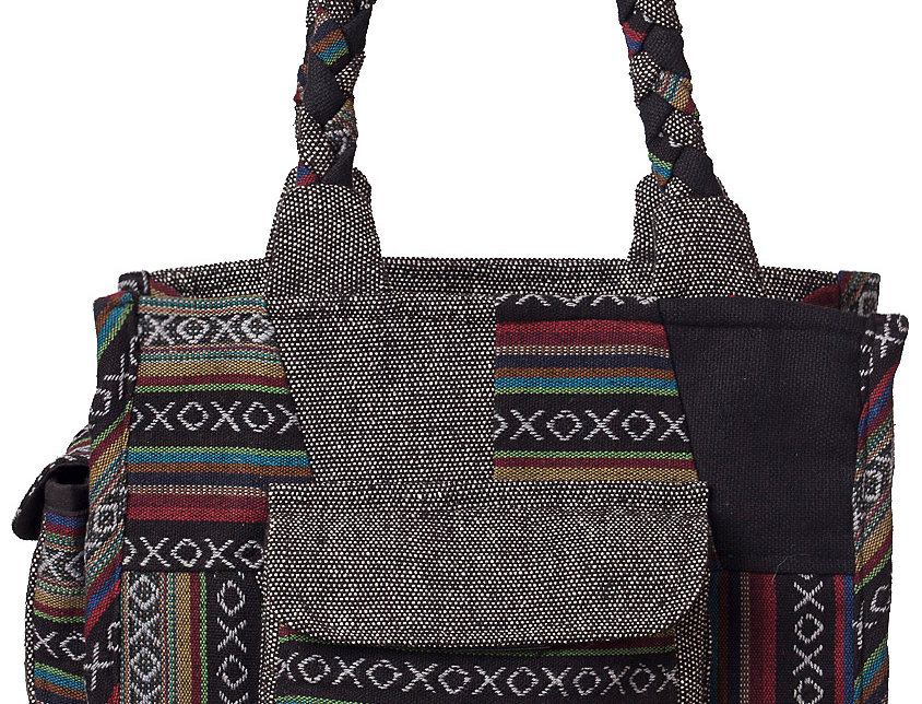 Ark Fair Trade Mandu Tote Bag solid, patch and striped cotton-2 outer pockets-thick braided handle shades of black and gray