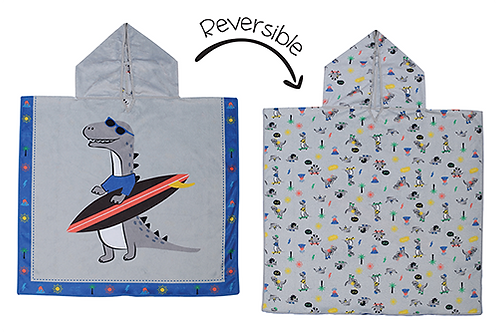 light gray terry poncho with dino carrying surfboard on one side & small dino print on other