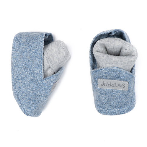 Pair of blue cotton slippers with white inner socks