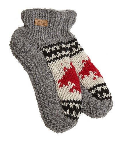 Left view of knit wool booties-gray-top of foot white with red maple leaf-black and white design above and below leaf