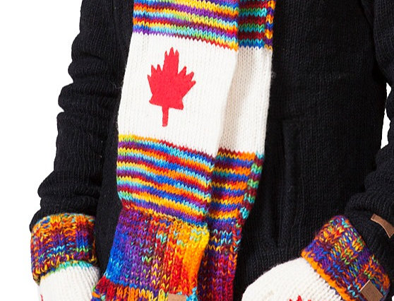 Knit wool scarf-blended rainbow colors stripes & fringe, white center with red maple leaf