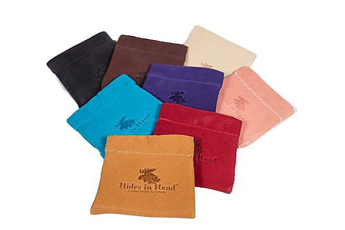 Group of 8 colours of small leather coin purses stamped with moose head and Hides in Hand