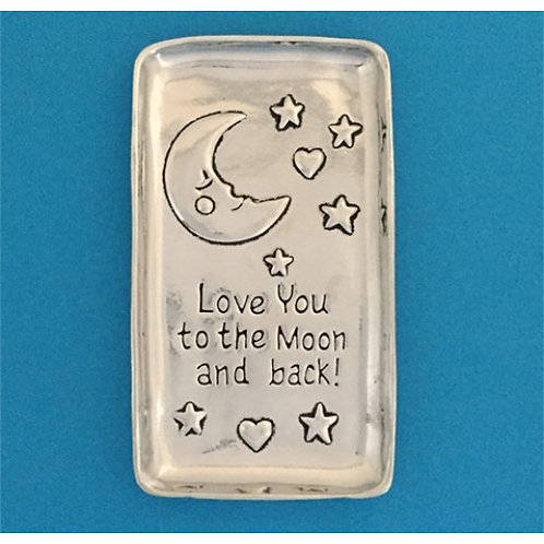 """Rectangular pewter tray with crescent moon, stars & hearts - text """"Love you to the Moon and Back'"""