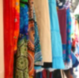 Textile wares on display in Kathmandu Market