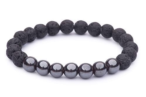 Lava Bead Stretch Bracelet with hematite beads