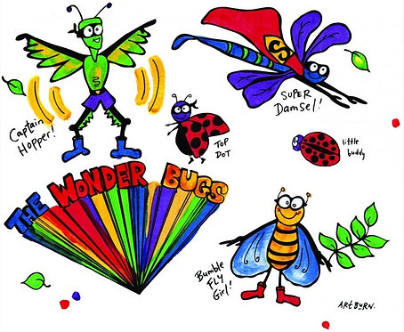 brightly painted pillowcase from Wonderbugs Pillowcase Painting Kit