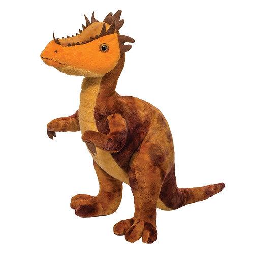 Orange, yellow and brown plush stuffed dracorex dinosaur toy standing upright