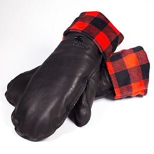 black leather mitts with red and black buffalo check cuffs
