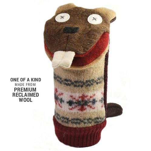 brown, red & cream wool beaver hand puppet