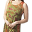Woman modelling sleeveless round neck tunic-longer pointed side hem-olive with subtle rust tie-dye print