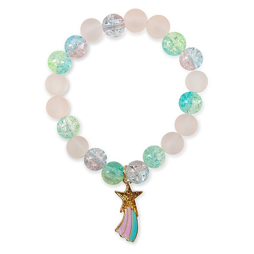 Child's elastic dress-up bracelet with pink, aqua & blue beads & gold star charm with rainbow