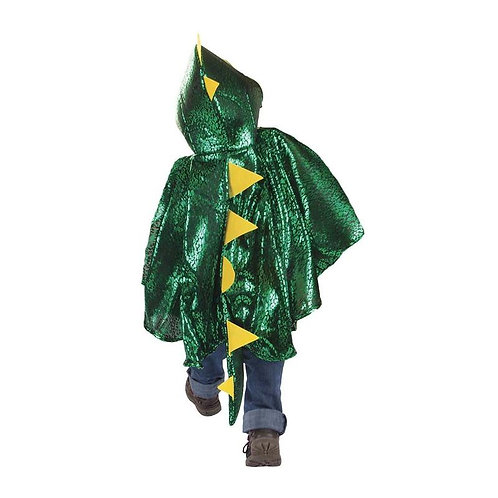 Back view of child wearing green & yellow Dragon Cape with pointy scales down the back