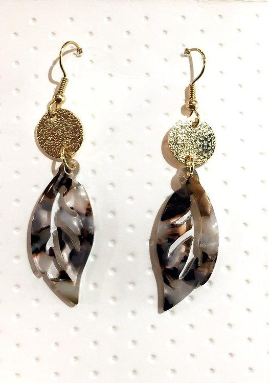 Gold-Plated Tortoise Shell Earring #1