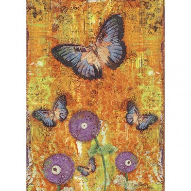 Tree-free Greetings Butterfly Fantasy All Occasion Card, front showing purple butterflies on gold background
