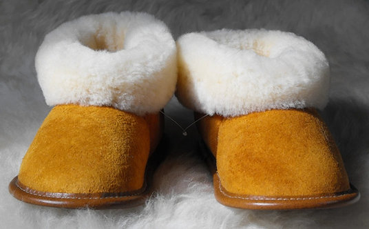 Front view of pair of Kids' Tan Sheepskin Slippers