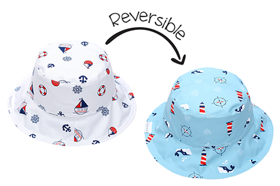 2 in 1 Reversible Patterned Sun Hat - Nautical