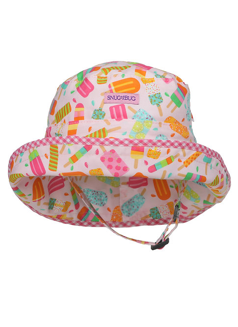 Light pink with dark pink, mint green and orange striped & polka dot Ice Pops Adjustable Sun Hat front view