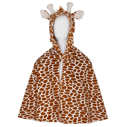 Front view of brown spotted Toddler Giraffe Cape with antlers & ears on hood