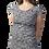 Model short sleeve round neck knee length A-line dress-pleat-like stitching down 1 side small leaf print light gray-dark gray