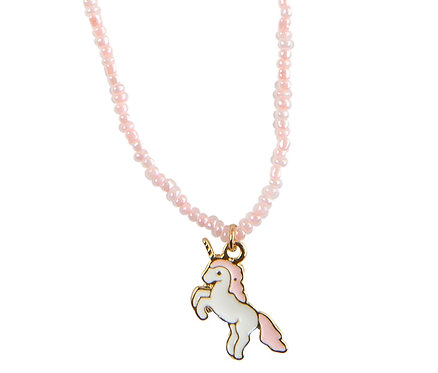 Prancing pink & white enamel unicorn pendant on necklace of pink faux fresh-water pearls