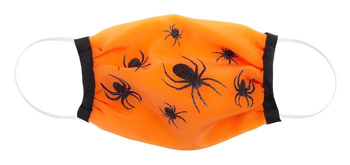 orange kids protective cotton mask with black spiders