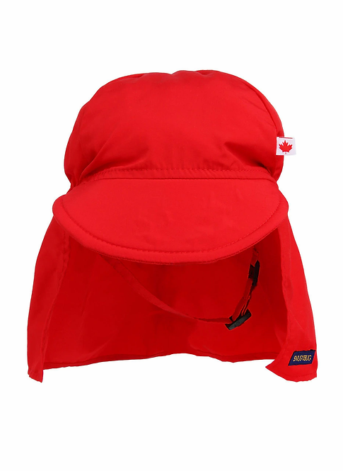 Front view of Child's red cap style sun hat with peaked brim in front & long fabric attachment to cover neck & ears