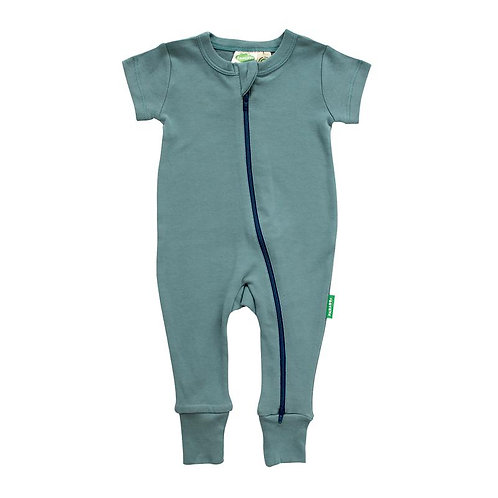 one piece short sleeve baby sleeper ocean blue-zipper from neck to ankle of 1 leg