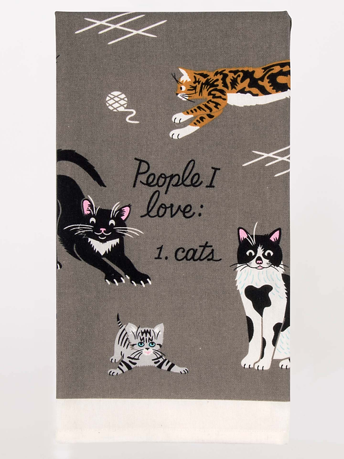 Close up of dark gray dish towel with black, white & tan images of various kinds of cats, text 'People I Love: 1. Cats'
