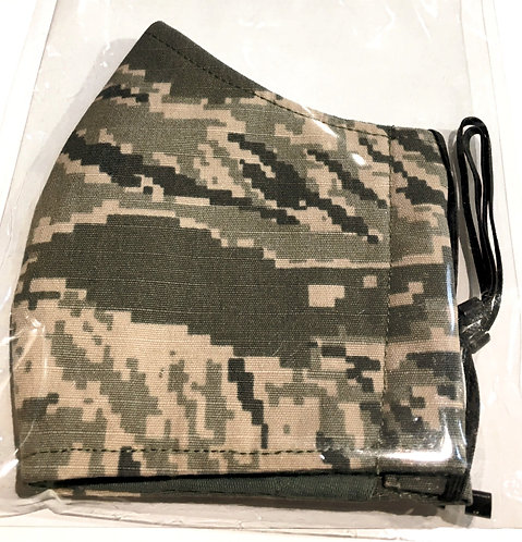 Close up of camo print-cotton protective mask folded in half