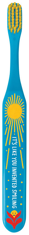 front of blue toothbrush with yellow sun design & yellow bristles-text 'it's like you invented smiling'