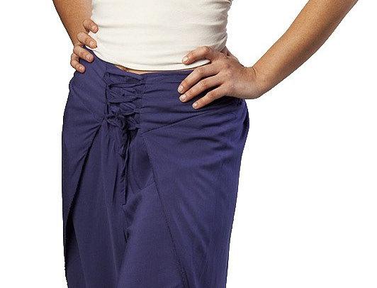 Plum Fair Trade Jasmine wrap pants with 2 panel leg open at calf, cinching ties at front of waist