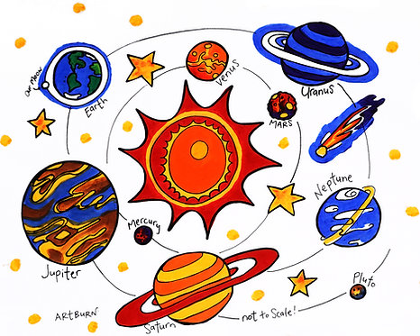 Brightly painted solar system image on pillowcase in Solar System Pillowcase painting Kit