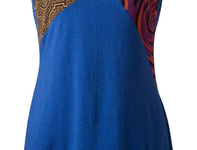Prizma tunic-dress-A-line-solid-blue-body-asymmetrical-diagonal print patches at neck line and hem in bright colours