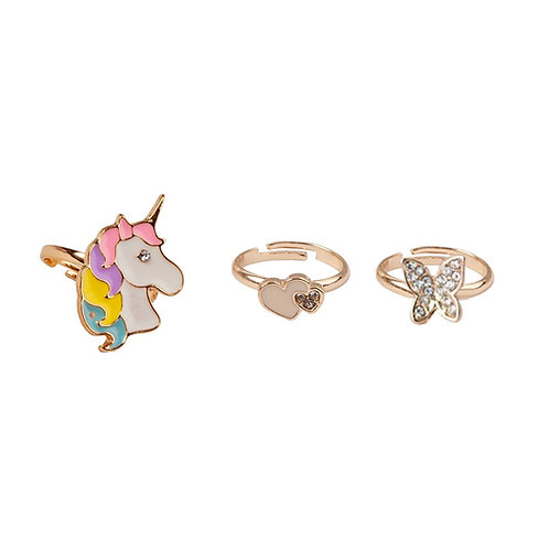 Set of 3 gold-colored child's dress-up rings-unicorn, hearts & butterfly