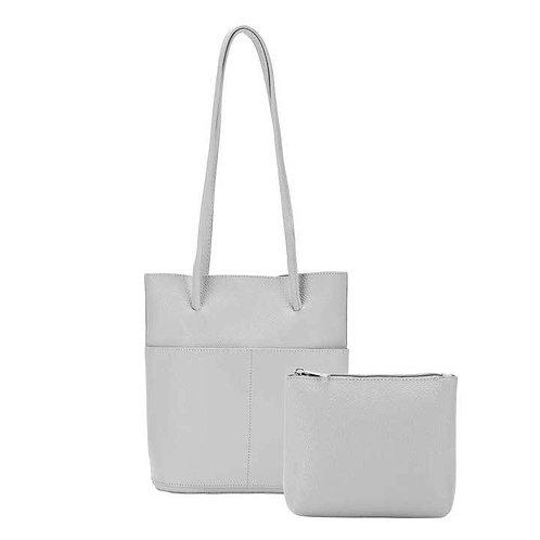Gray bucket tote purse & matching make-up bag