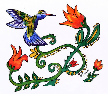 Brightly painted design of Hummingbirds and flowers on branches from Hummingbird Pillowcase Painting Kit