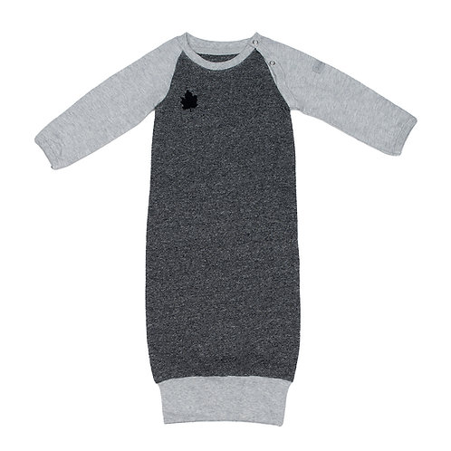 Front view of light & dark gray raglan sleeve nightgown with ribbed bottom edge