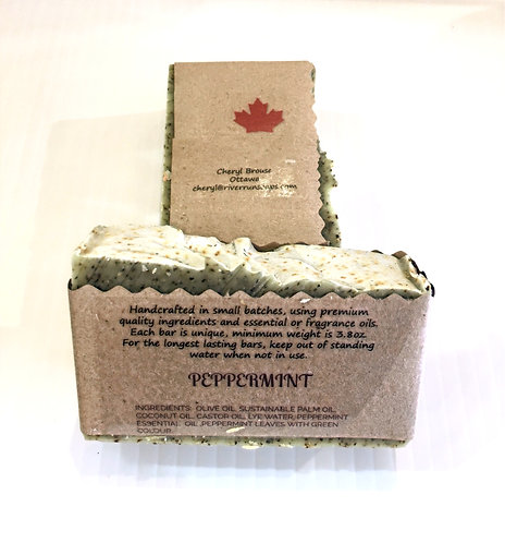 2 bars of peppermint scented handmade soap in kraft paper wrapper printed with ingredients and Made in Canada