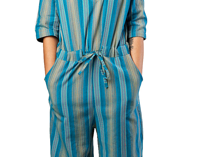 Eesha Romper V-neck half sleeve drawstring waist full length leg hidden side pockets vertical stripes blue yellow