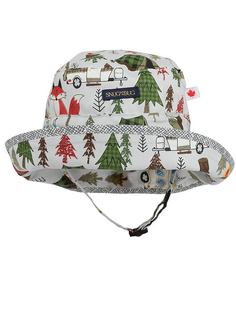 Deep Woods Adjustable Sun Hat white with red & green trees, orange fox and camper trailer, front view