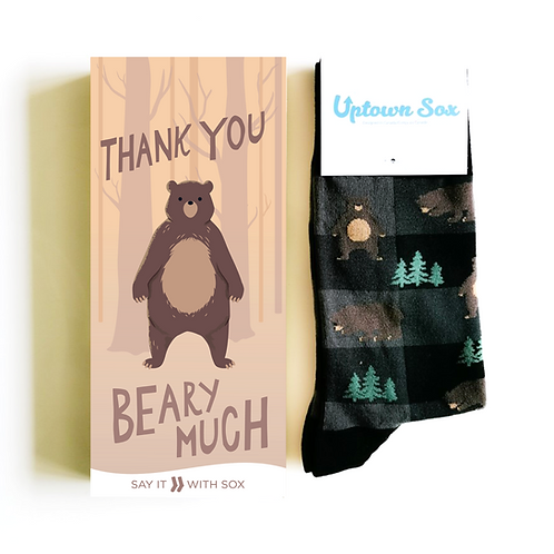Brown card with trees & brown bear-text 'Thank you beary much' & brown & green bear print socks