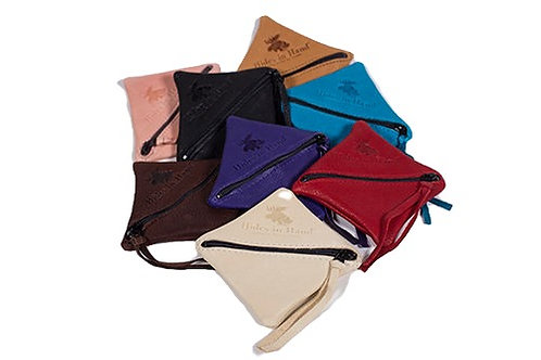 Group of 8 colours of small square leather coin purses with diagonal zipper opening, leather zipper pull