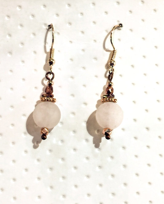 Rose Gold earrings with 10mm frosted rose quartz stones