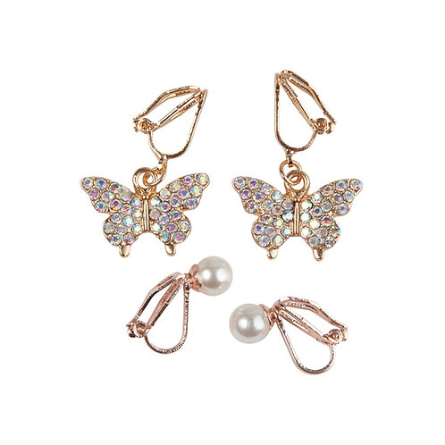2 pairs of child's clip-on earrings-sparkling crystal studded butterflies & white pearls