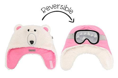 Pink & white reversible fleece/sherpa hats-polar bear face on white sherpa side-ski goggles on pink fleece side