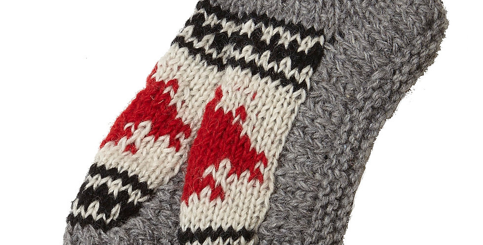 Right view of knit wool booties-gray-top of foot white with red maple leaf-black and white design above and below leaf