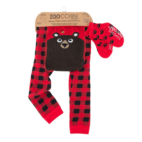 Set of red & black check leggings with black bear on seat & red socks with black paw prints pattern