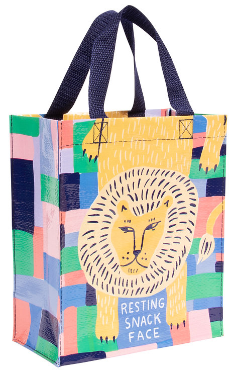 Blue Q Handy Tote - resting snack face front view