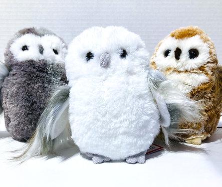 3 little plush owls - gray, white & brown