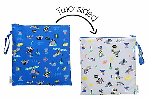 2 Sided Kids Wet Bag - dinosaur print on blue one side, on gray the other